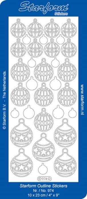 1 Pk (10 Vl) Stickers Christmas Baubles 2 zilver