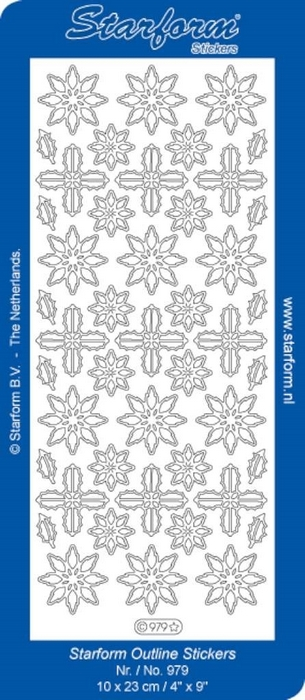 1 Pk (10 Vl) Stickers Christmas Flowers       zilver