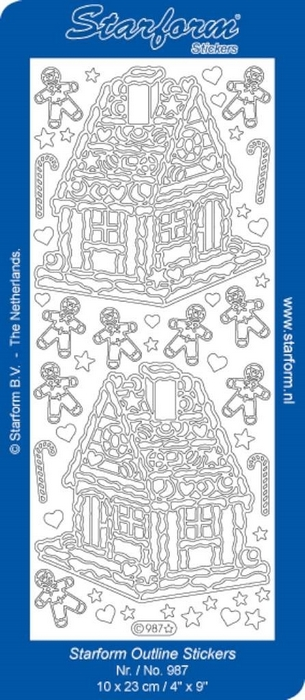 1 Pk (10 Vl) Stickers Christmas Candy House zilver
