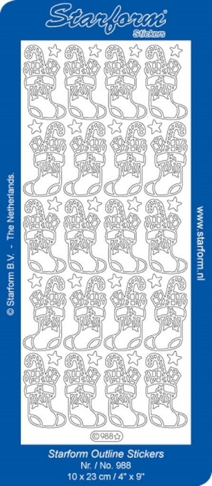 1 Pk (10 Vl) Stickers Christmas Socks zilver