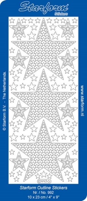 1 Pk (10 Vl) Stickers Christmas Stars 4: Large goud
