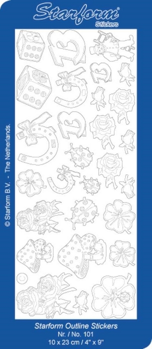 1 Pk (10 Vl) Stickers Luck Symbols zilver