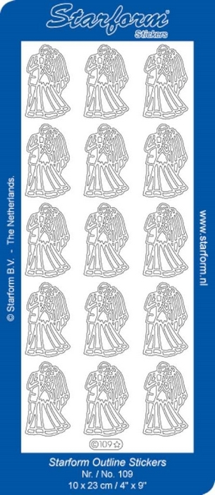 1 Pk (10 Vl) Stickers Wedding Couple 1 goud