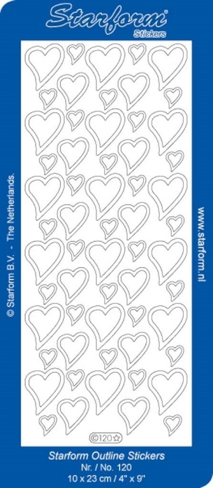 1 PK (10 VL) Stickers Hearts 1 - goud