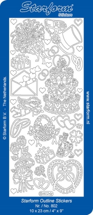 1 Pk (10 Vl) Stickers Wedding Assorted   goud