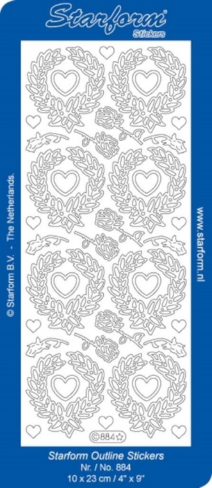 1 Pk (10 Vl) Stickers Heart Wreaths zilver