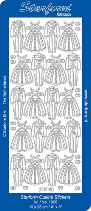 1 Pk (10 Vl) Stickers Wedding Dress | Suit goud