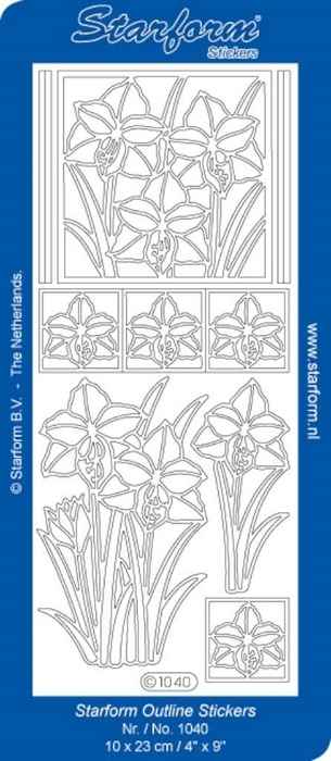 1 Pk (10 Vl) Stickers Flowers 8 - Daffodils zilver