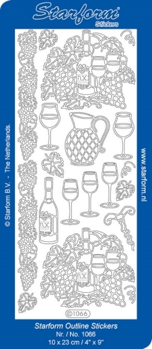 1 Pk (10 Vl) Stickers Wine zilver