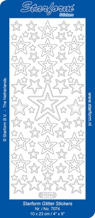 Stickers Christmas Stars 8 glitter zilver goud