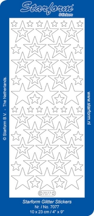 Stickers Christmas Stars 9 glitter goud zilver