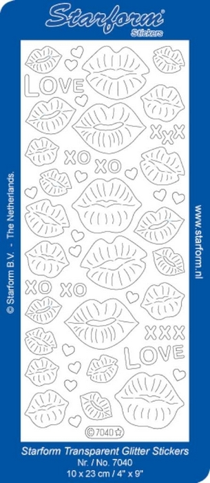 Stickers Kissing Lips zilver